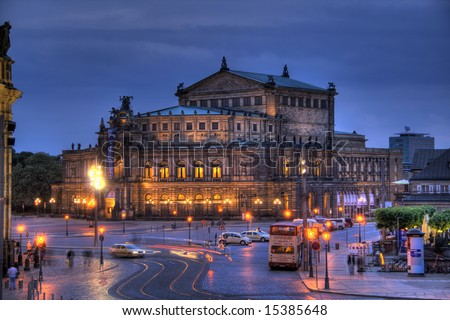 A gorgeous HDR image of the famous Dresden Opera House.
