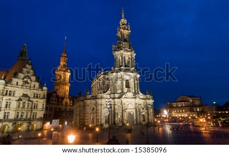 A gorgeous night image of a famous cathedral in Dresden, Germany