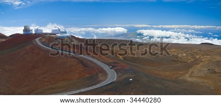 A gorgeous panorama of the summit of the Mauna Kea volcano in Hawaii Big Island.