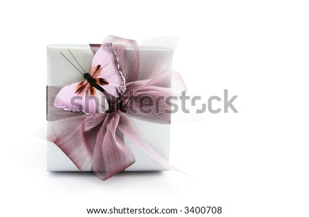 A gorgeous silver gift box with a soft mauve ribbon, and a pretty matching butterfly.