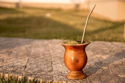A gourd of yerba mate ( uma cuia de erva-mate)