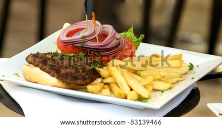 A gourmet hamburger and fries on a white plate