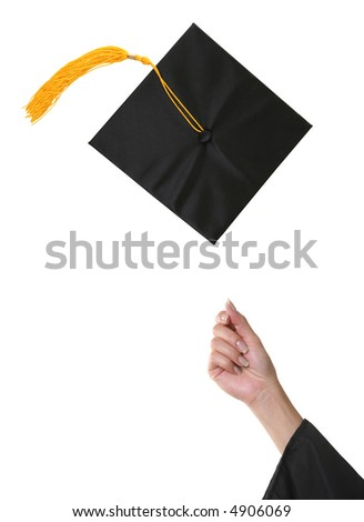 A graduation cap after being thrown into the air