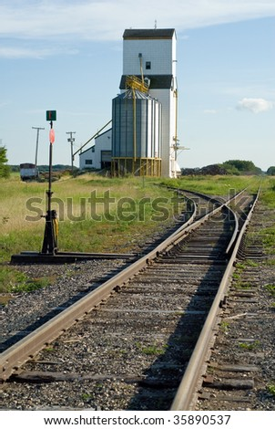 A grain elevator situated near a set of railroad tracks with the rails ending in a vanishing point