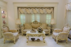 A grand living room interior architecture with various furniture in a residential house home with a luxurious and classical retro of European royal palace style.