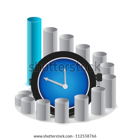 A graph with clock a business concept illustration