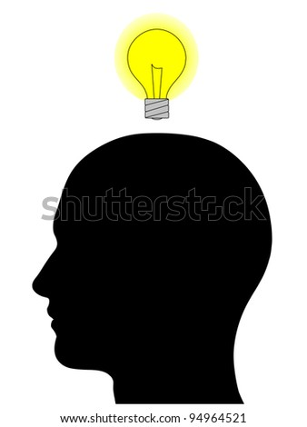 A graphic of a male head silhouette with a glowing yellow light bulb overhead. Isolated on a solid white background.