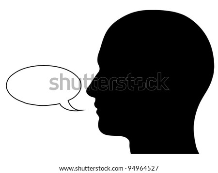 A graphic of a male head silhouette with a speech bubble. Isolated on a solid white background.