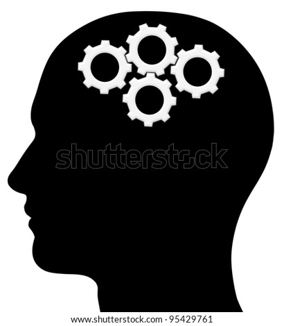 A graphic of a male head silhouette with gears. Problem solving process. Isolated on a solid white background. - stock photo