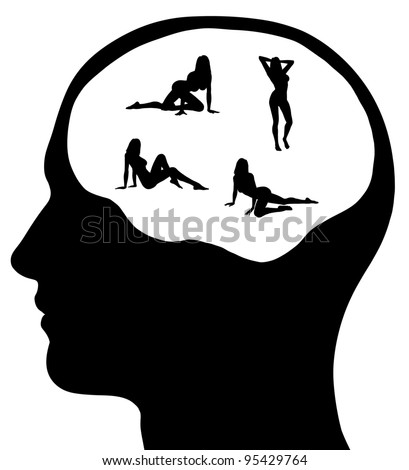 A graphic of a man with sexy women on his mind. Isolated on a solid white background.