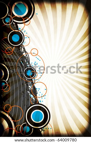 A graphical layout with circles and retro art elements over a grungy radiating rays background.