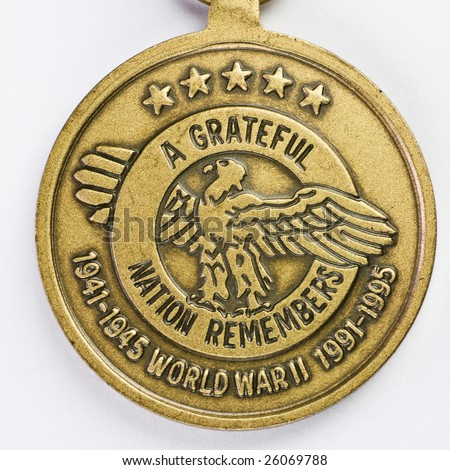 A grateful nation remembers - 50th anniversary of World War II medal