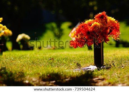 A grave marked with flowers in a cemetery in autumn.