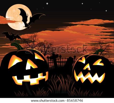 A graveyard, bats and pumpkin Halloween background - stock photo