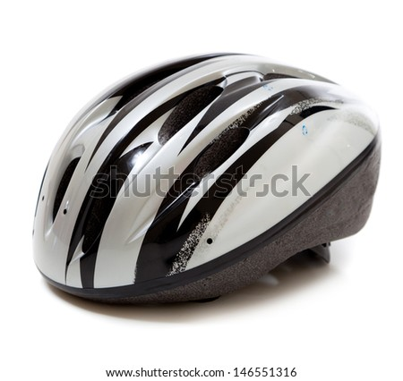 A gray and black bicycle helmet on a white background #146551316