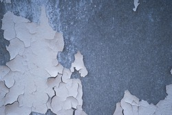 A gray concrete wall with remnants of beautifully cracked white paint with a gradient of light and space for text. Background.