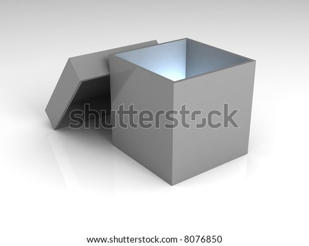 A gray opened box, with a blue light inside of it.