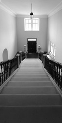 A grayscale of a stairway with metallic beautiful railings in a building