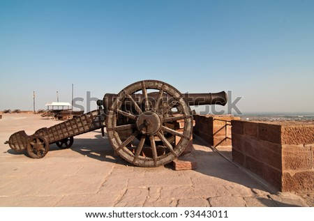 A great cannon at Mehrangarh fort overlooking the city of Jodhpur