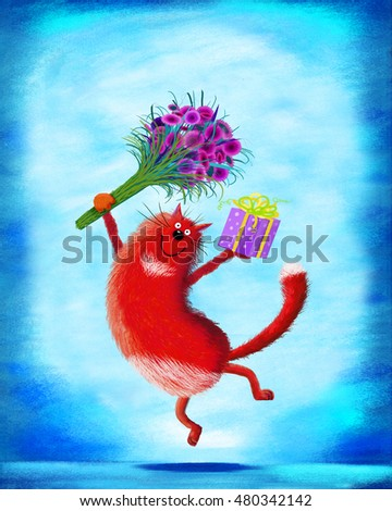 A great greetings card: a red smiling cat jumping up with a big bunch of flowers and a present.