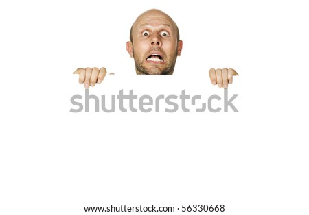 A great portrait of a frightened or scared man. Isolated on white.