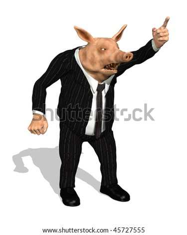A greedy demanding business pig shouts orders - 3D render