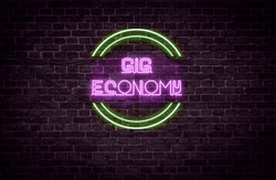 A green and purple neon light sign that reads: Gig economy