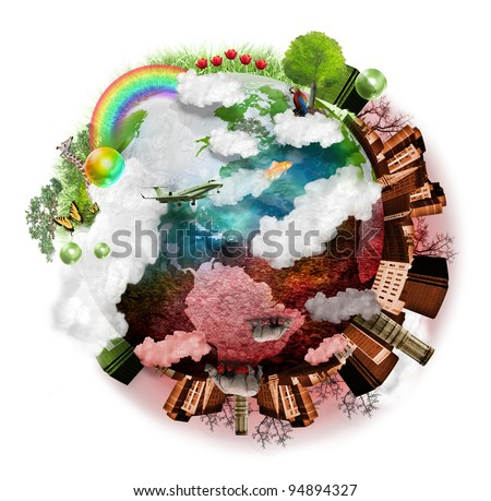 A green and red globe of the earth is isolated on a white background with clouds, a city, trees and grass around it. It is beautiful on one side and destructive on the other representing time. - stock photo