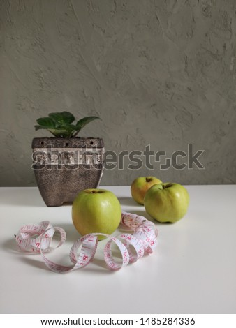 A green Apple with a centimeter ribbon and a plant in a ceramic pots with elephants, three green apples on a gray wall background, a double measuring tape, a serpentine with inches and centimeters