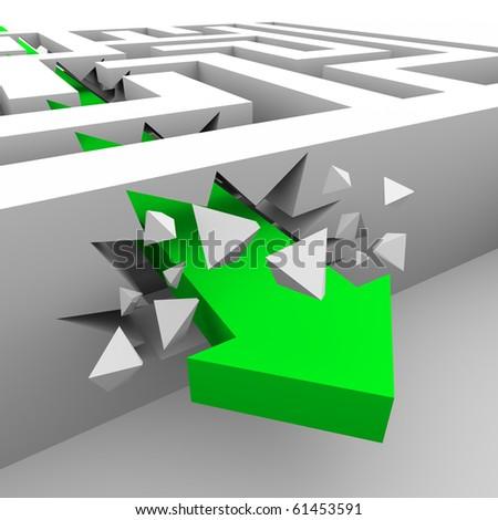 A green arrow crashes through the walls of a maze to get to a destination