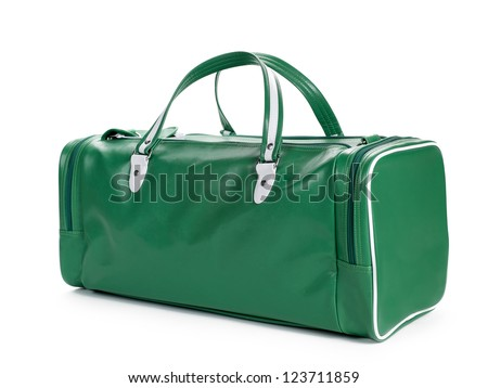 A green bag placed on an angle