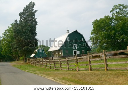 A green barn near President James Madison's home in rural Virginia