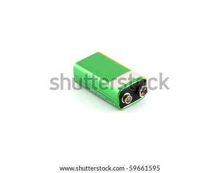 A green battery on a white background.