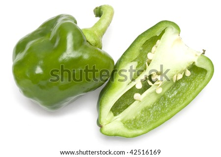 A green bell pepper isolated in white background