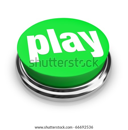 A green button with the word Play on it - stock photo