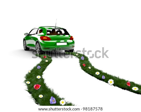 A green car drive and create grass with flowers