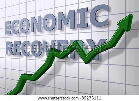 A green chart arrow in front of an economic recovery graph / Economic recovery