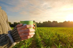 A green cup of coffee in a farmer's hands while she was working at her farm in the morning sunrise.
