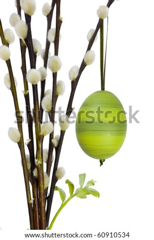A green decorated easter egg handing on a branch of catkins with a green sprout.
