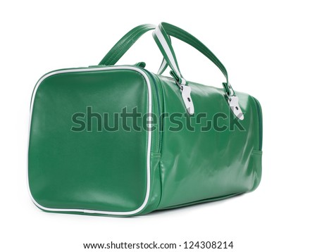 A green duffel bag shot on an angle on white