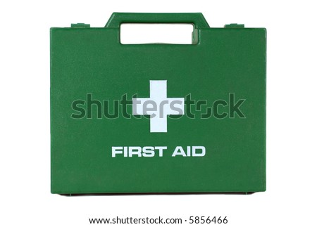 A green first aid kit box with a handle on a white background