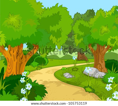 A Green  Forest Landscape with Trees and flowers. Raster copy of the vector  file