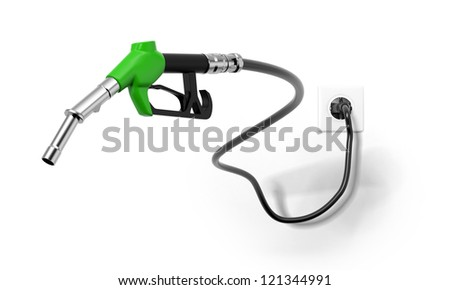 A green fuel nozzle from electrical outlet
