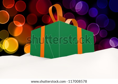 A green gift with a orange ribbon and a bow in snow 3d concept on color bokeh