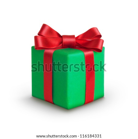 A green gift with a red ribbon and a bow