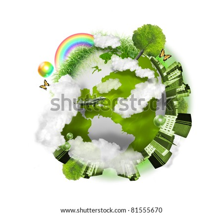 A green globe of the earth is isolated on a white background with clouds, a city, trees and grass around it. Use it for a nature concept.