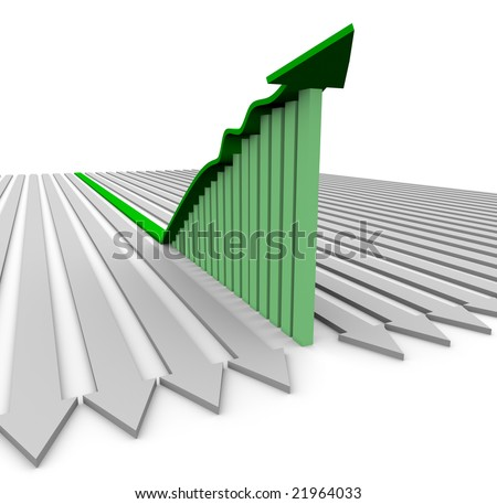 A green growth arrow rises atop a bar graph showing significant increases