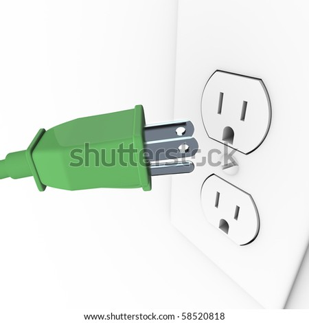 A green heavy duty electrical plug connects to a wall outlet
