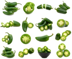 A green jalapeno peppers collection