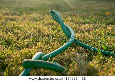 a green kinked garden hose Stock photo ©